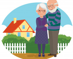 Cartoon pensioners with house